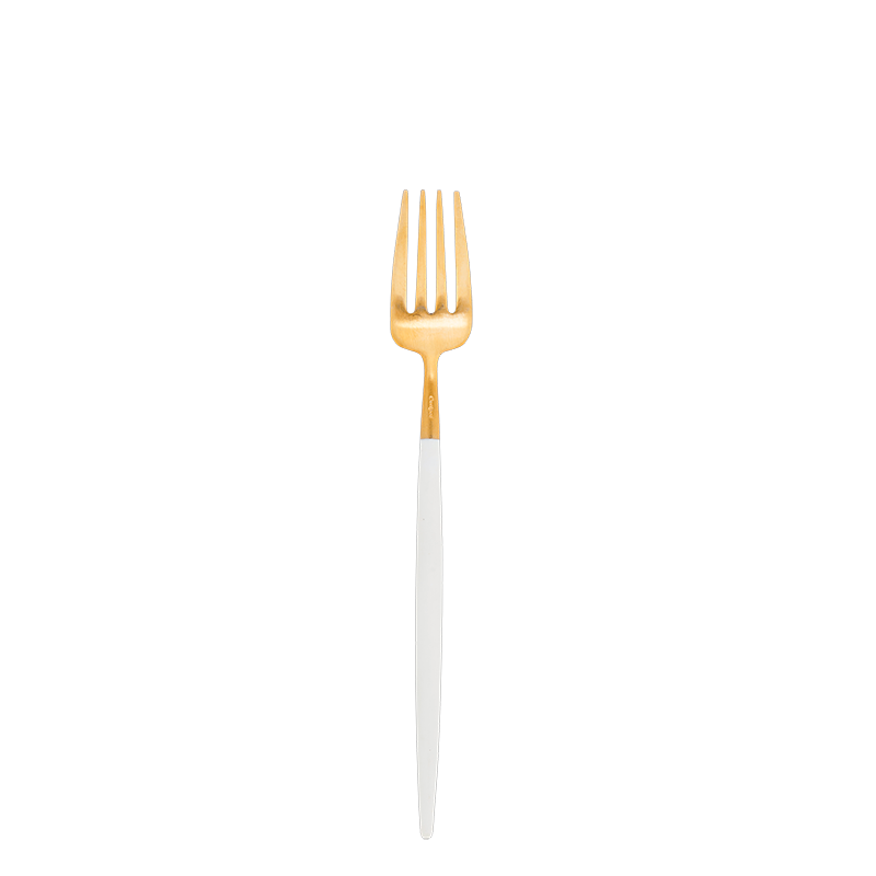 Cutipol white and gold dessert fork
