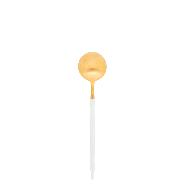 Cutipol white and gold dessert spoon