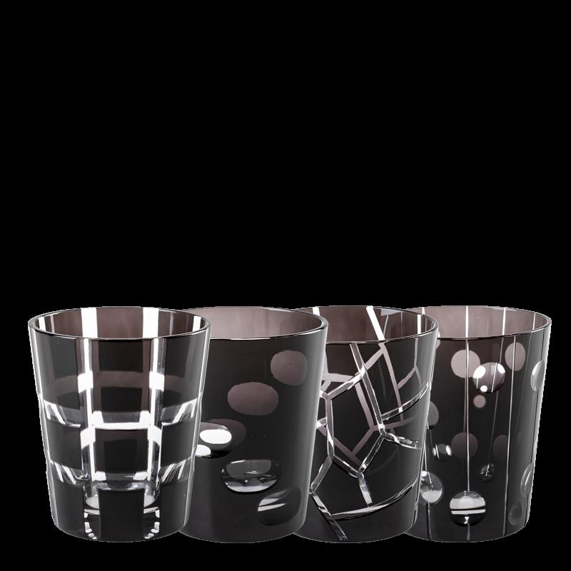 Black Mélodie glass tumbler Ø 8 cm H 9 cm 24 cl