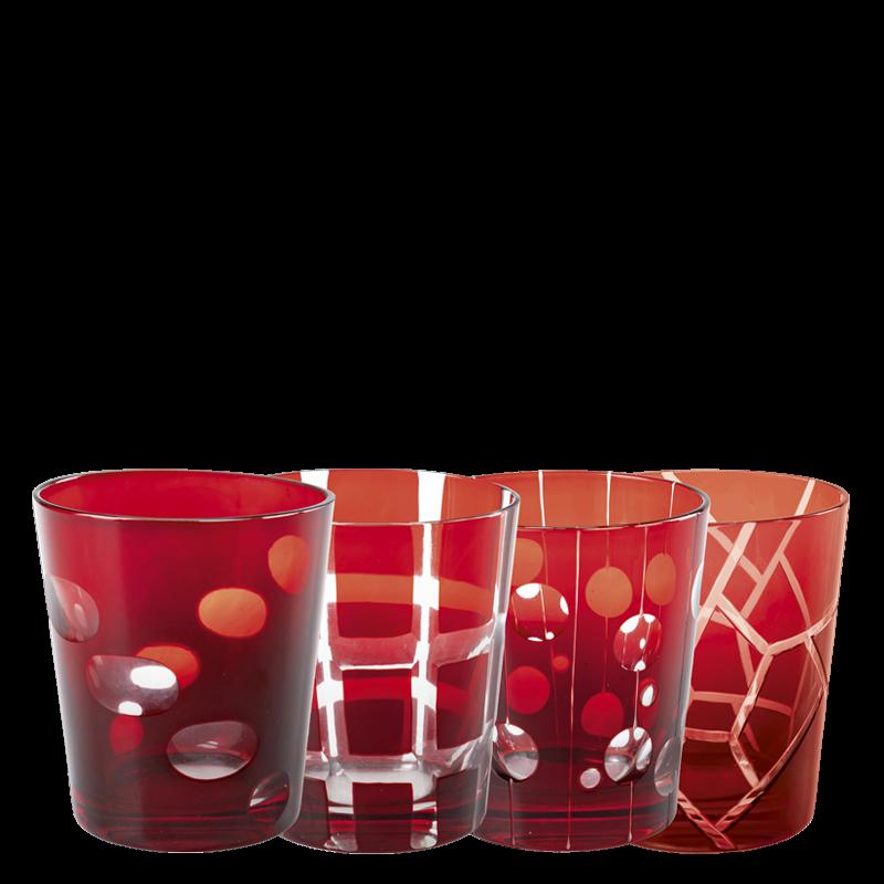 Red Mélodie glass tumbler Ø 8 cm H 9 cm 24 cl