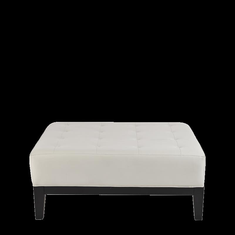 Button Ottoman in White L 40