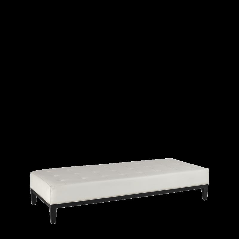 Button Ottoman in White L 79