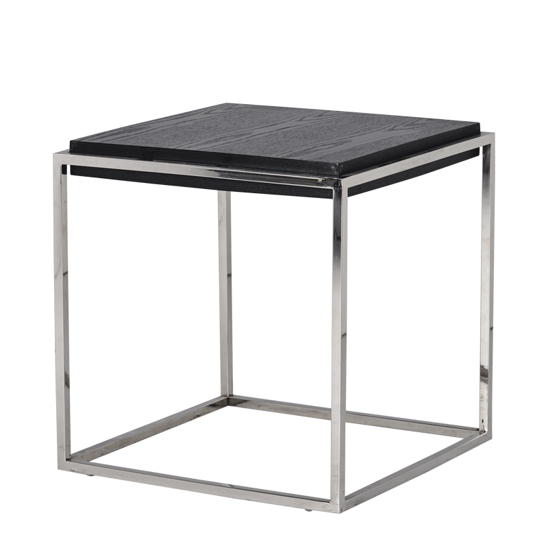 Chrome Square Coffee Table in Black