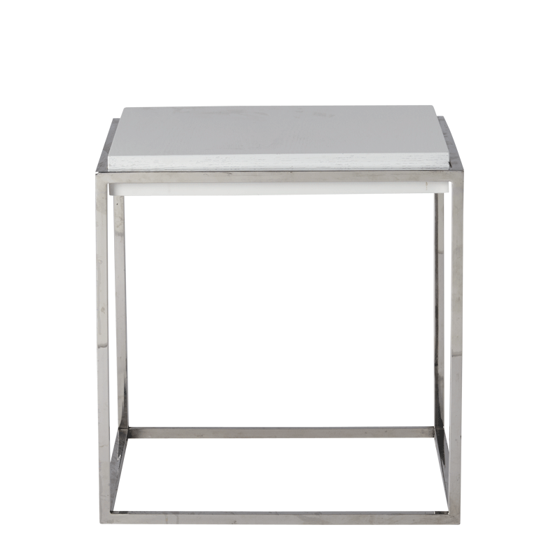Chrome Square Coffee Table in White