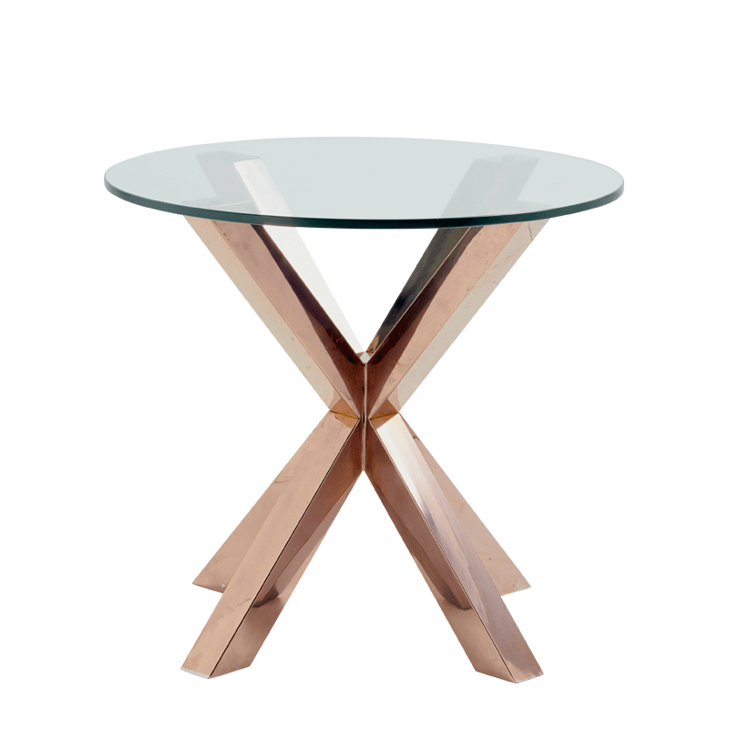 Cognac Occasional Table with Crystal Top