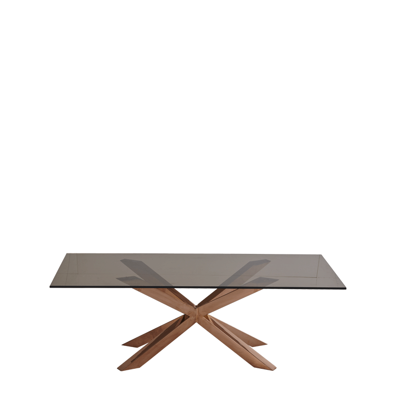 Cognac Coffee Table with Rectangular Smoked Glass Top