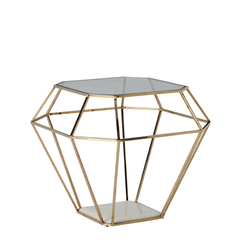 Diamond Occasional Table in Gold