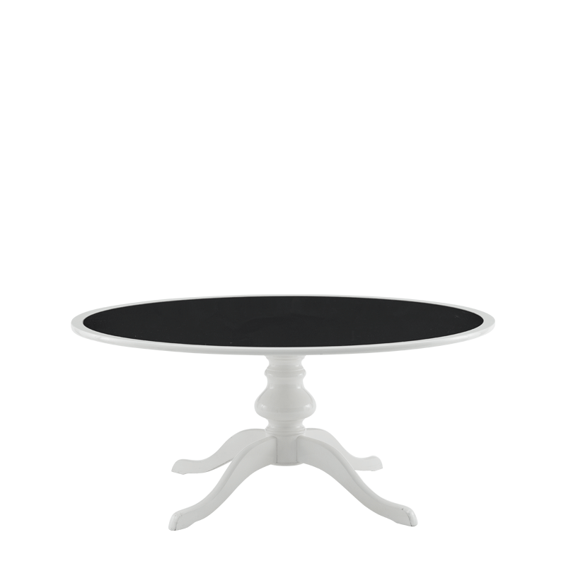 Isla Dining Table 6ft in White with Black Table Top