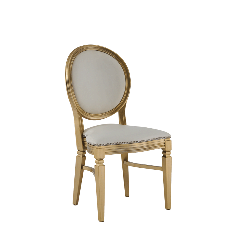 Chandelle Chair in Gold with Anastasia Collection Gold Seat Pad