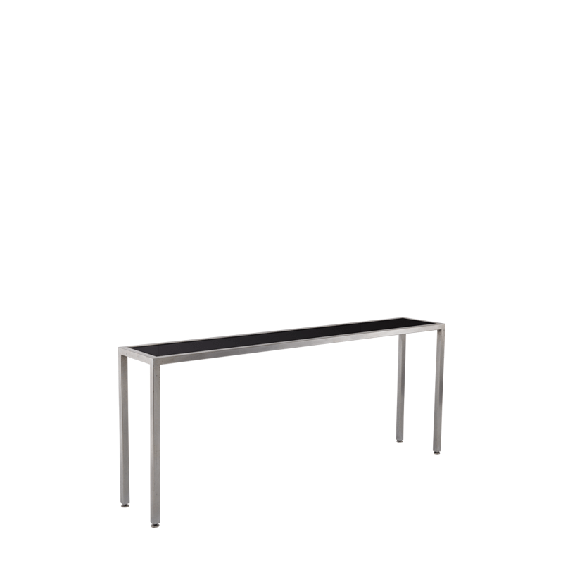 Unico Console Table with Stainless Steel Frame and Black Top