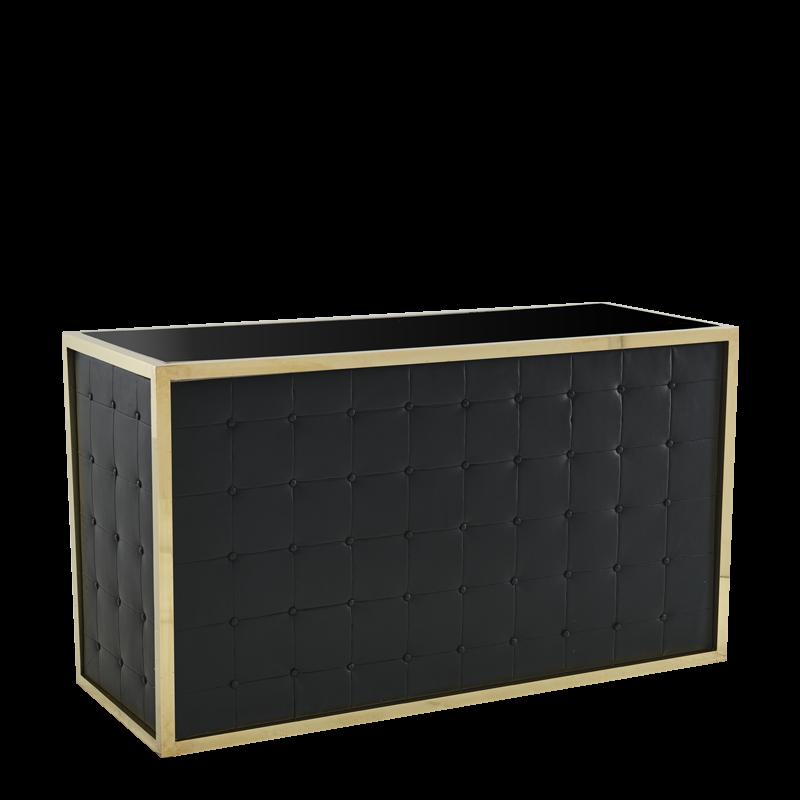 Unico Rectangular Bar - Gold Frame - Black Upholstered Panels