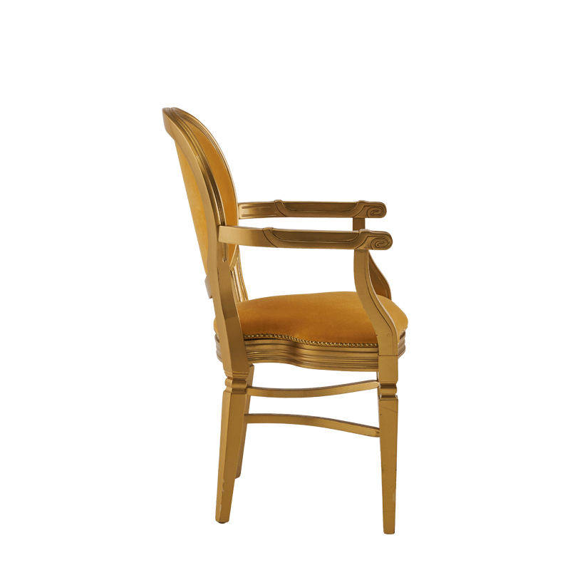 Chandelle Armchair in Gold with Amber Velvet Seat Pad