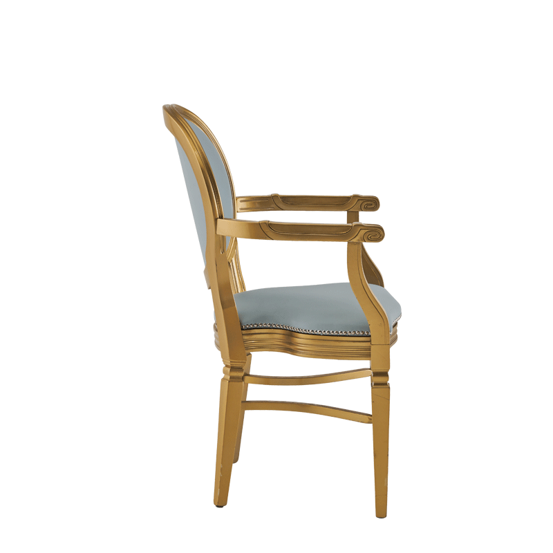 Chandelle Armchair in Gold with Babyblue Seat Pad