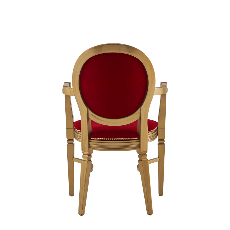 Chandelle Armchair in Gold with Crimson Red Velvet Seat Pad