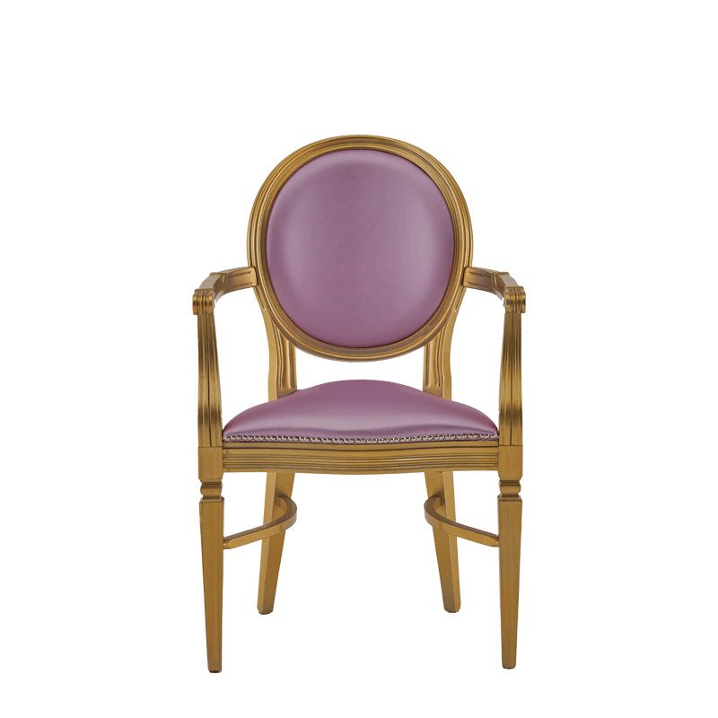 Chandelle Armchair in Gold with Icy Pink Seat Pad