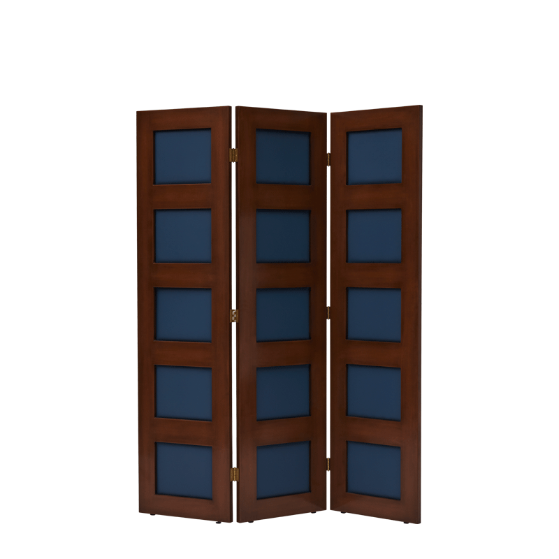 CKC Screen in Antique Walnut with Cornflower Panels
