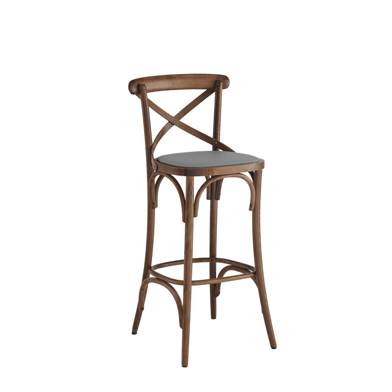Coco Bar Stool in Natural with Grey Seat Pad