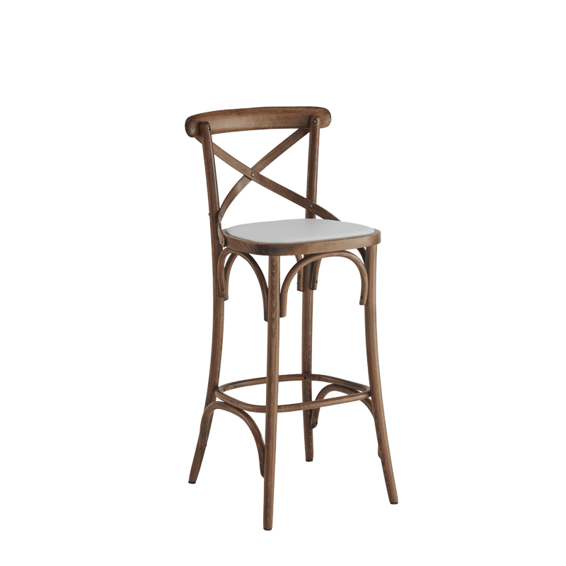 Coco Bar Stool in Natural with White Seat Pad