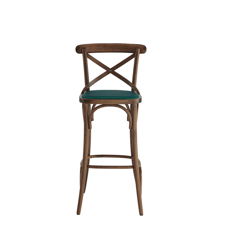 Coco Bar Stool in Natural with Emerald Seat Pad