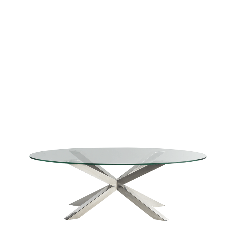 Cognac Coffee Table in Chrome with Oval Crystal Top