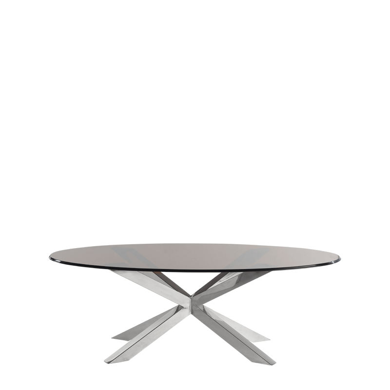 Cognac Coffee Table in Chrome with Oval Smoked Top
