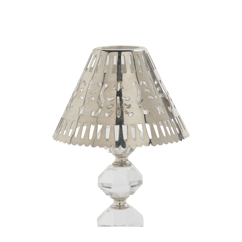 Retro Crystal Lamp Shade in Silver Metal