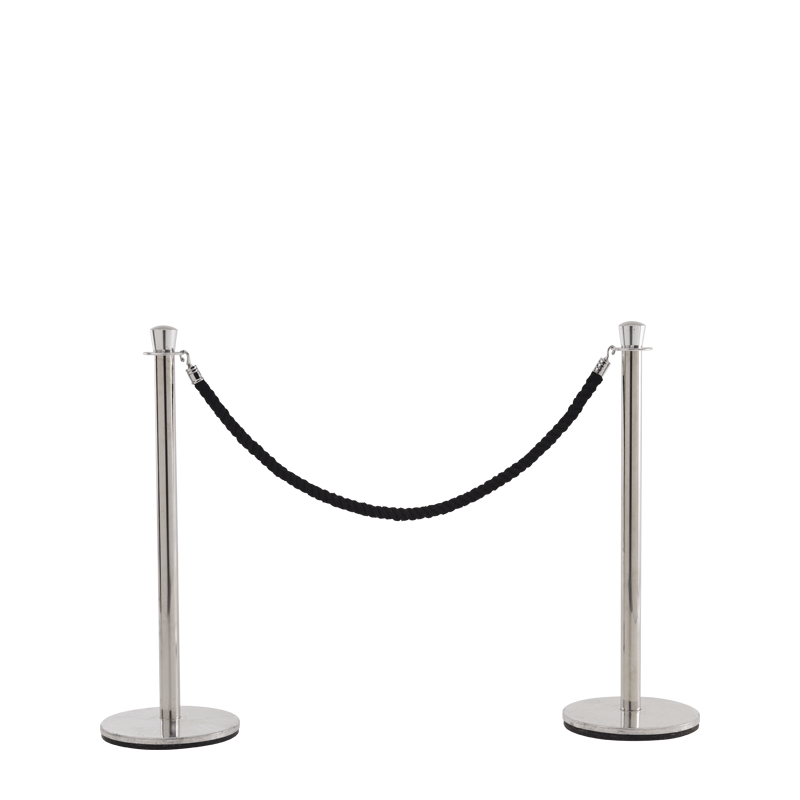 Stanchion in Stainless Steel Brass with Black Rope