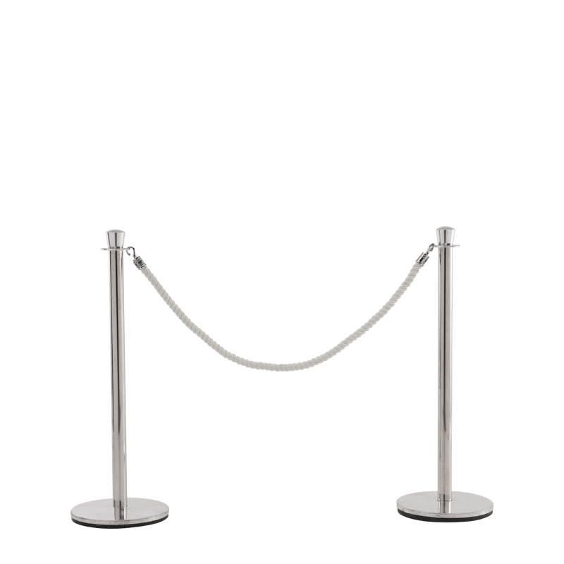 Stanchion in Stainless Steel Brass with White Rope