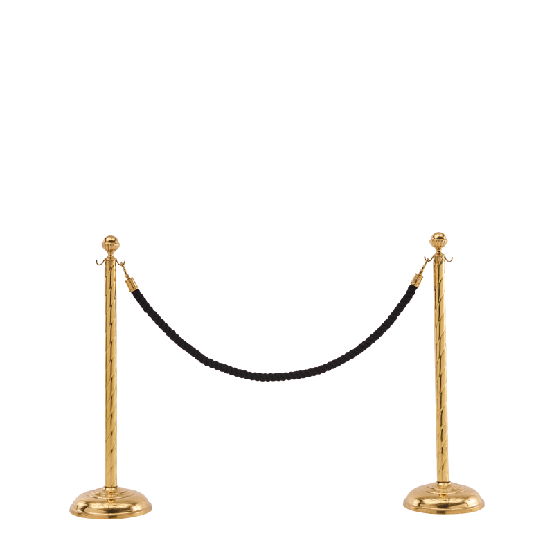 Twisted Stanchion in Brass with Black Rope