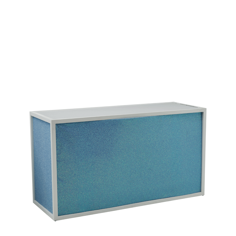Unico Bar with White Frame and Baby Blue Glitter Panels