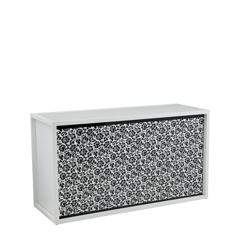 Unico Bar with White Frame and Black and White Floral Front