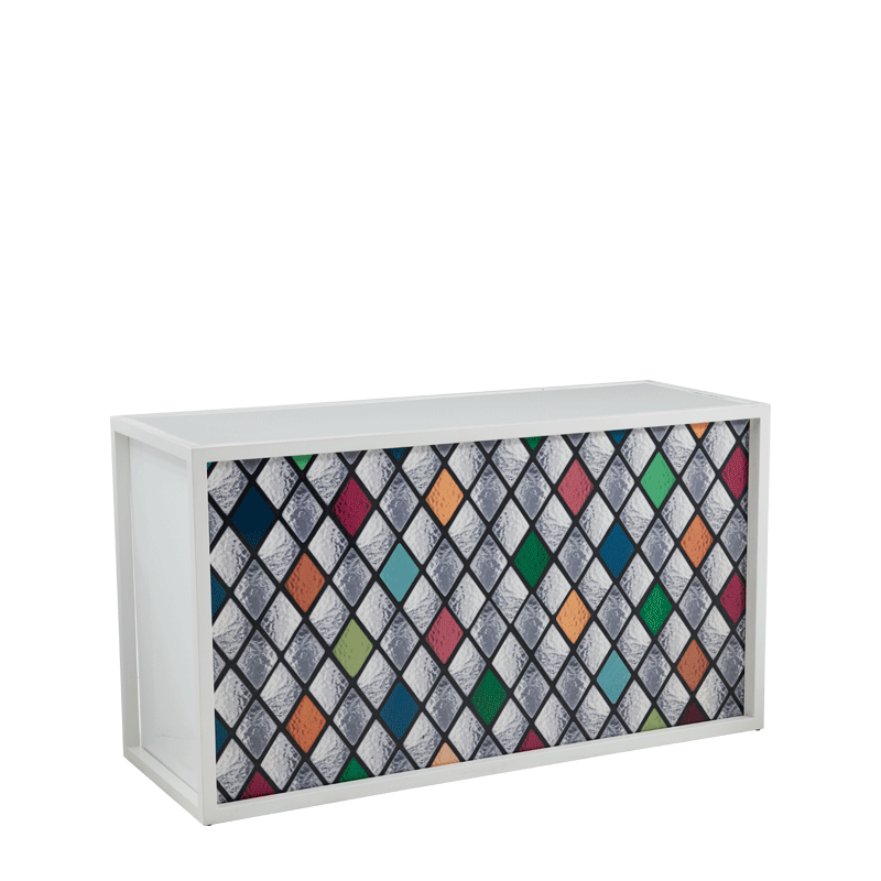 Unico Bar with White Frame and Multi-Colour Shapes Front