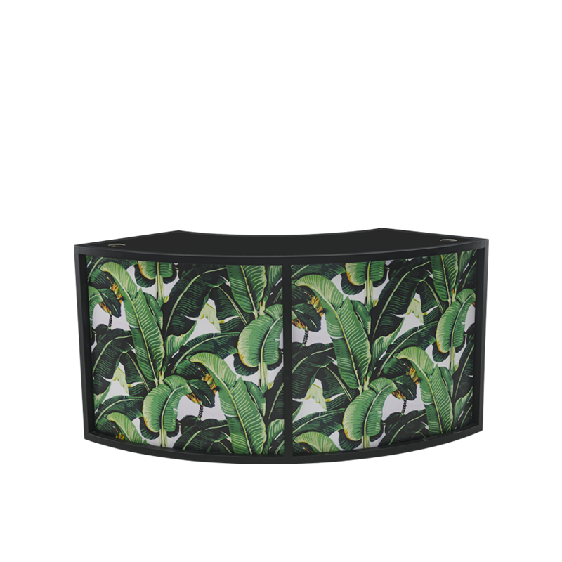 Unico Curved DJ Booth with Black Frame and Palm Leaf Print Panels