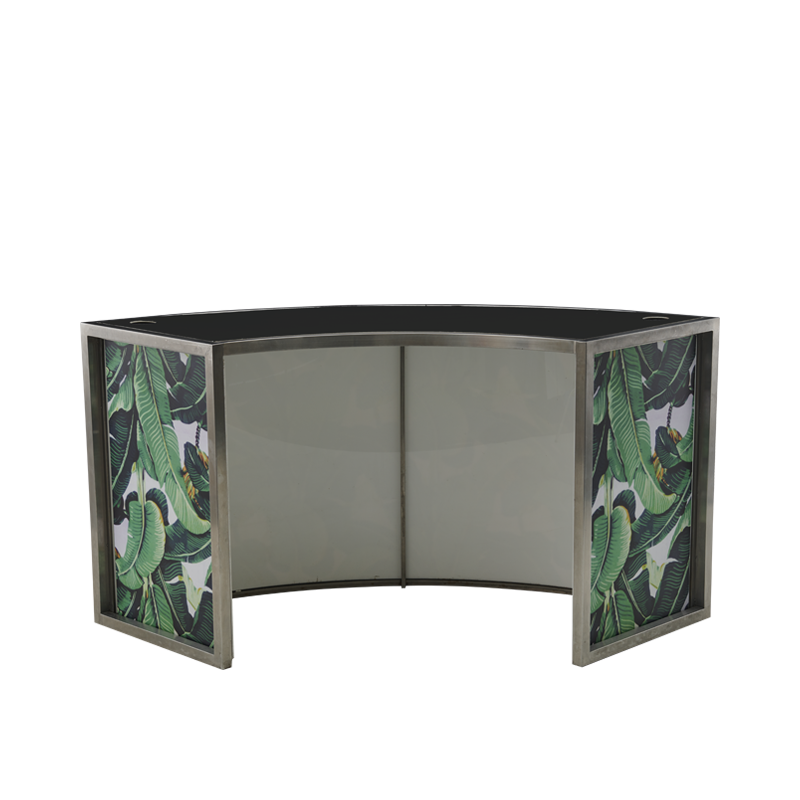 Unico Curved DJ Booth - SS Frame -  Palm Leaf Panels - Black Top