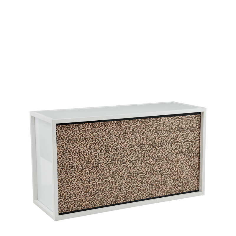 Unico Bar with White Frame and Leopard Print Front