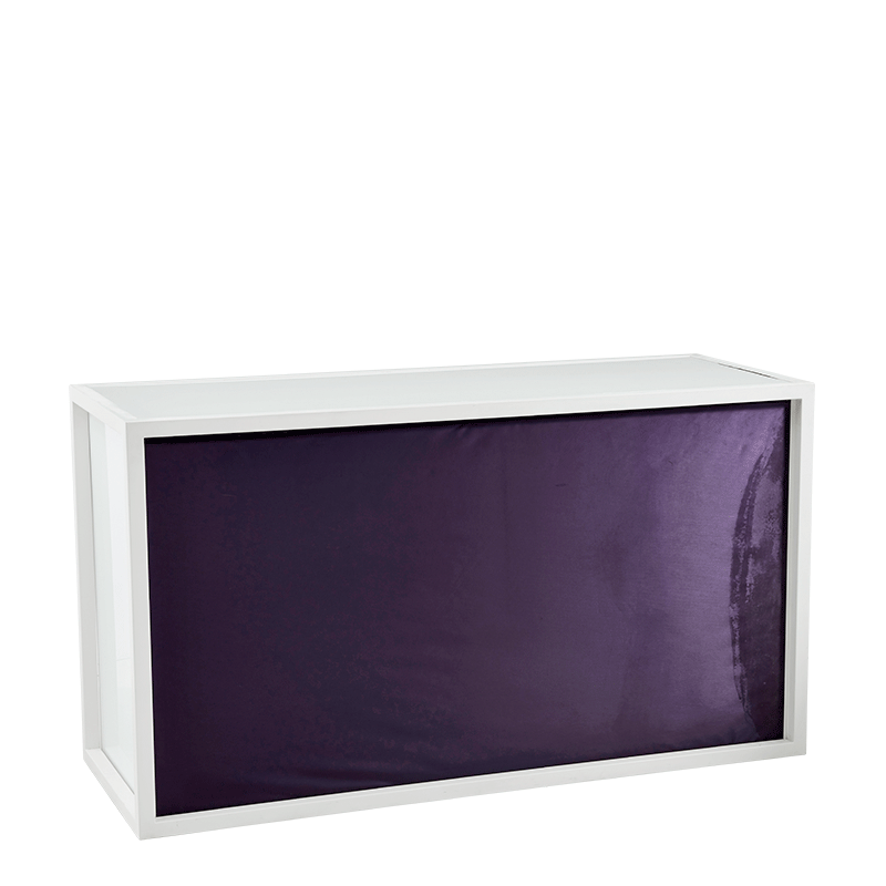 Unico Bar with White Frame and Purple Upholstered Front
