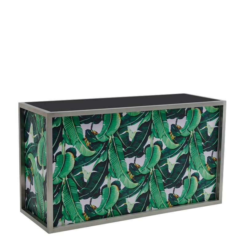 Unico DJ Booth - Stainless Steel Frame - Palm Leaf Print Panels
