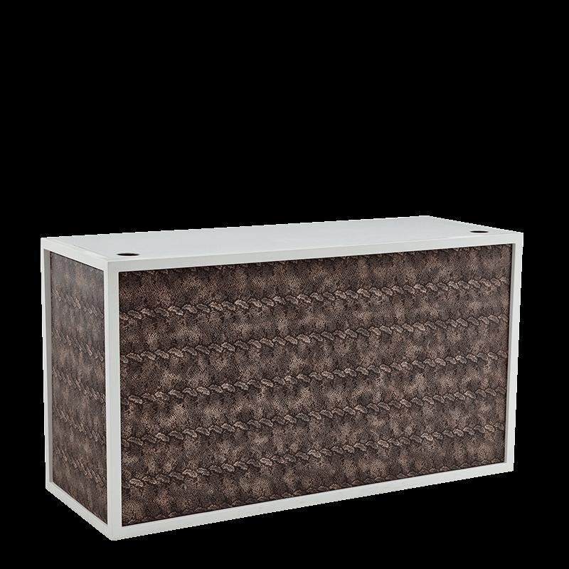 Unico DJ Booth - White Frame - Upholstered Snake Skin Panels