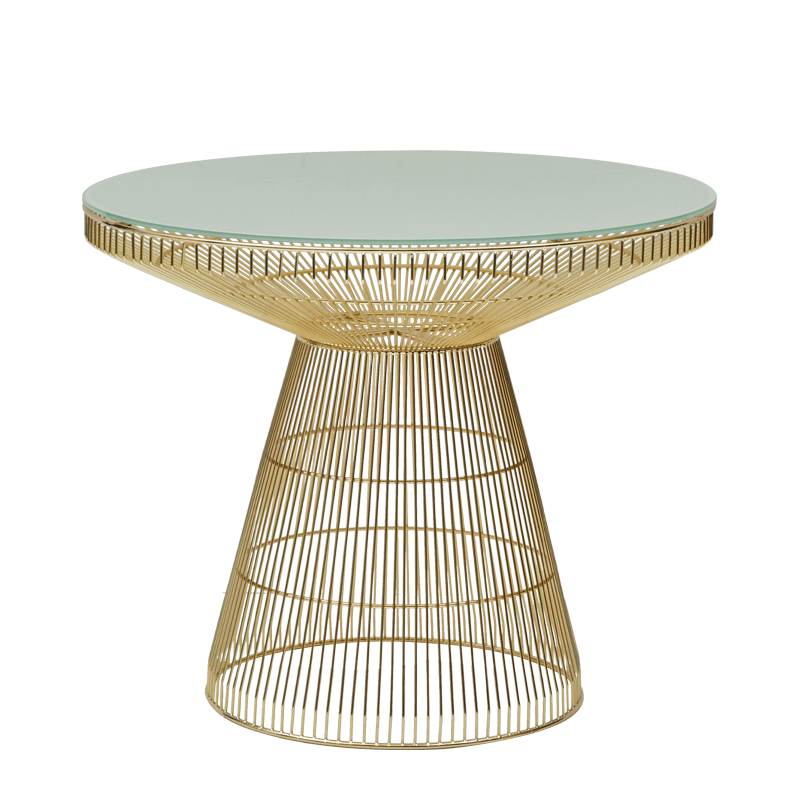 Gianni Café Table in Gold with White Crystal Top