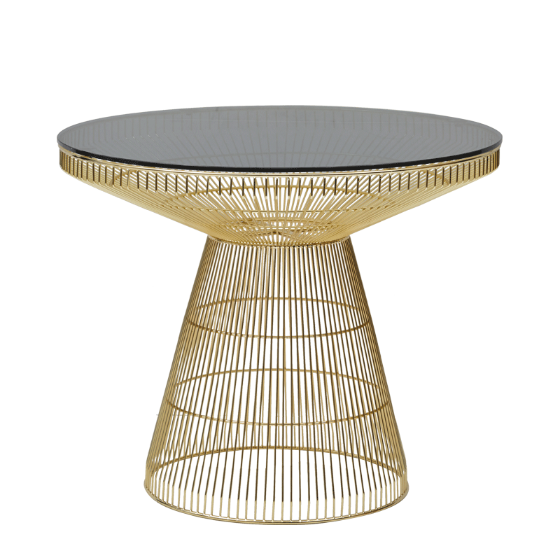 Gianni Café Table in Gold with Smoked Crystal Top