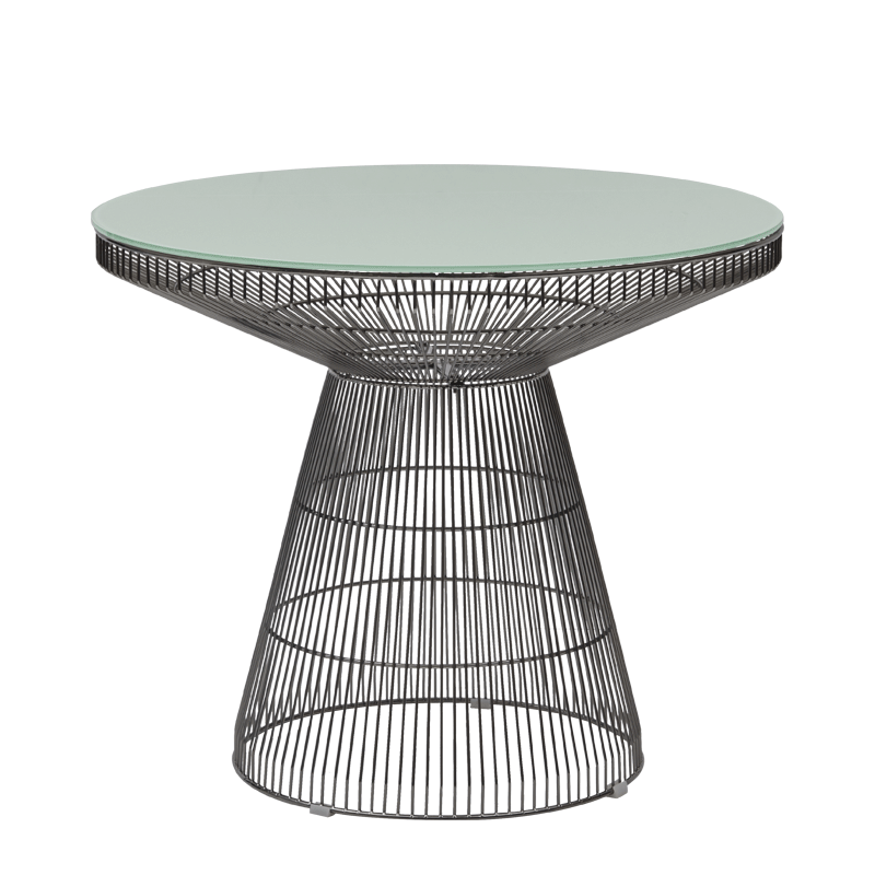 Gianni Café Table in Gunmetal with White Crystal Top