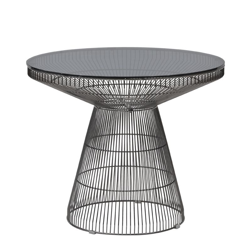 Gianni Café Table in Gunmetal with Smoked Crystal Top