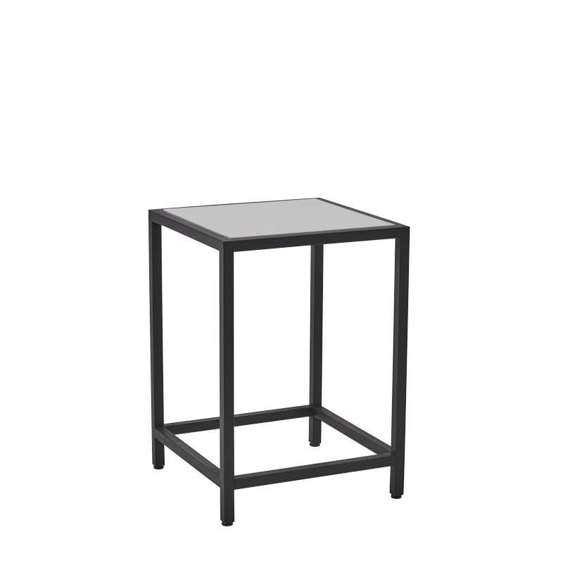Unico Square Occasional Table with Black Frame and White Top