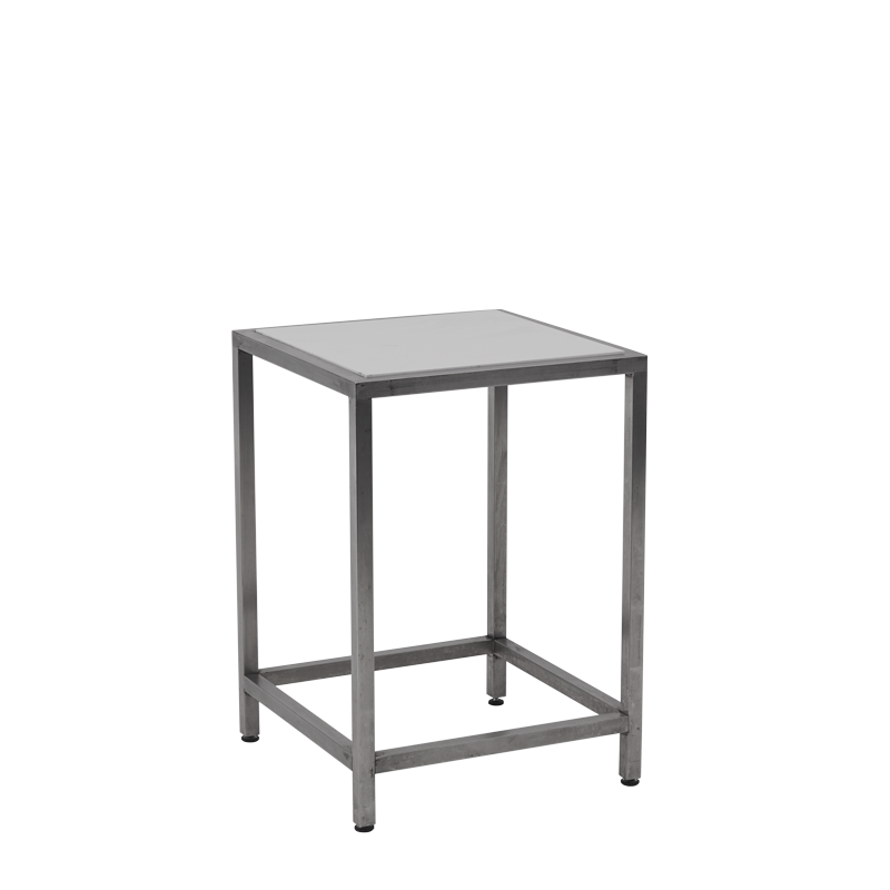 Unico Square Occasional Table - Stainless Steel Frame - White Top