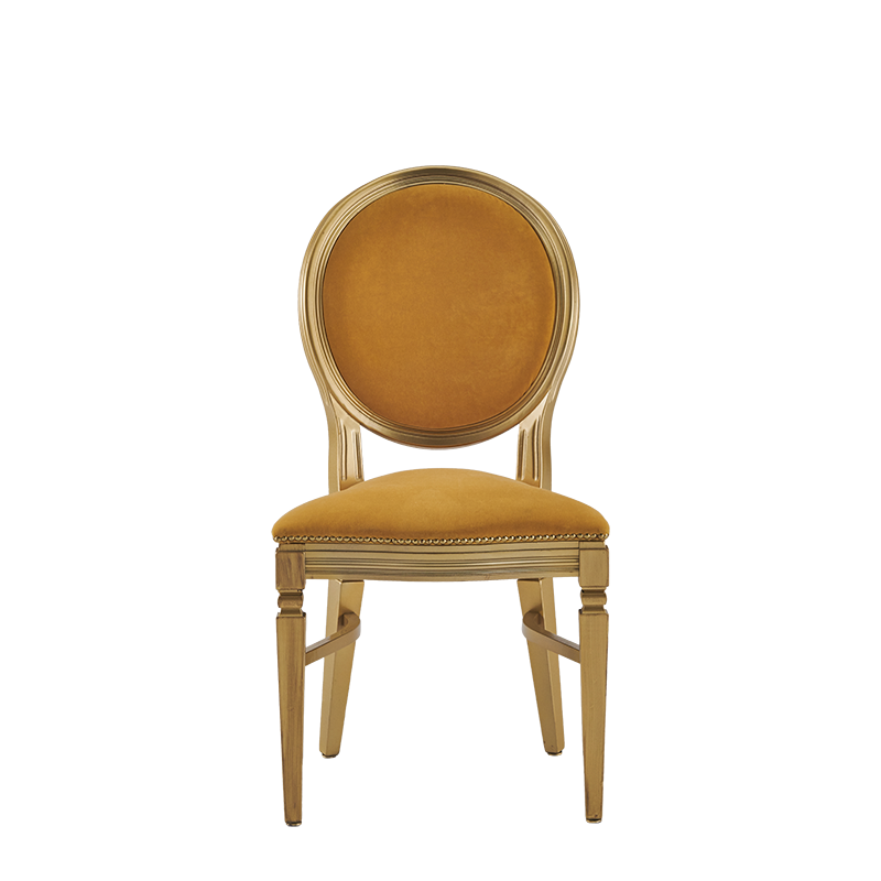 Chandelle Chair in Gold with Amber Velvet Seat Pad