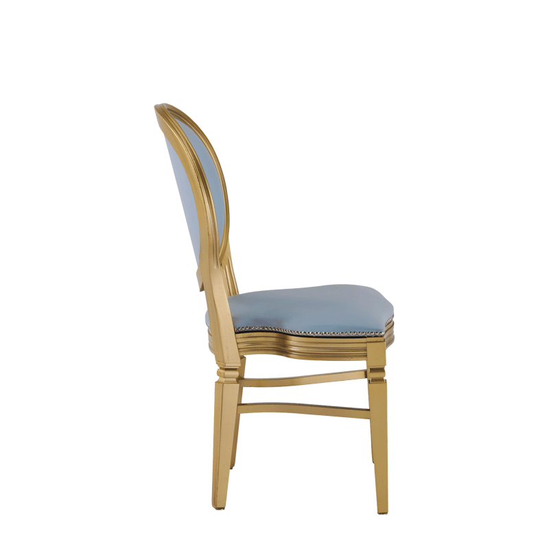 Chandelle Chair in Gold with Baby Blue Seat Pad