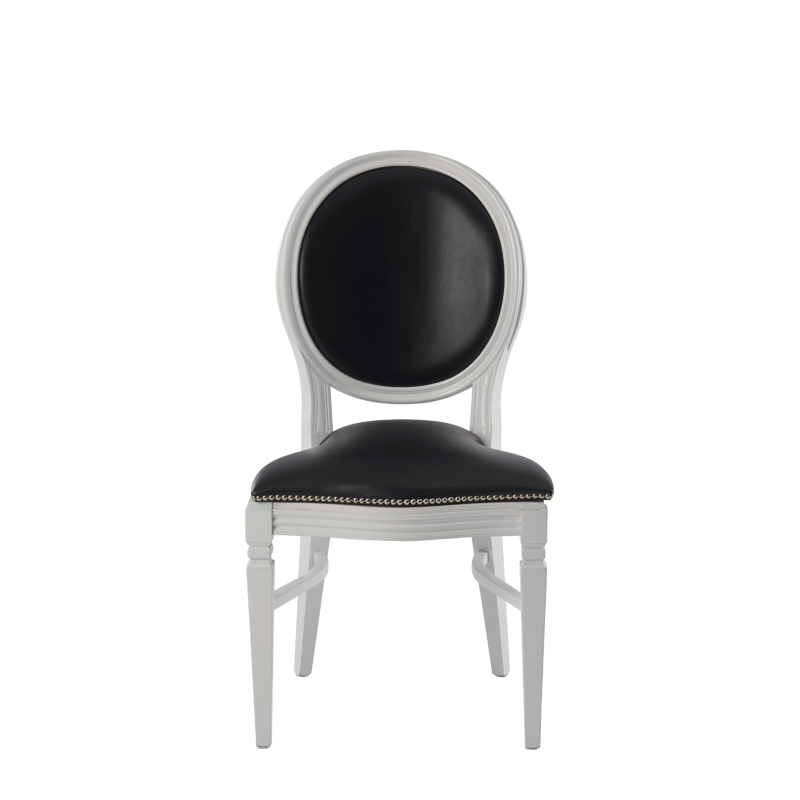 Chandelle Chair in White with Black Seat Pad