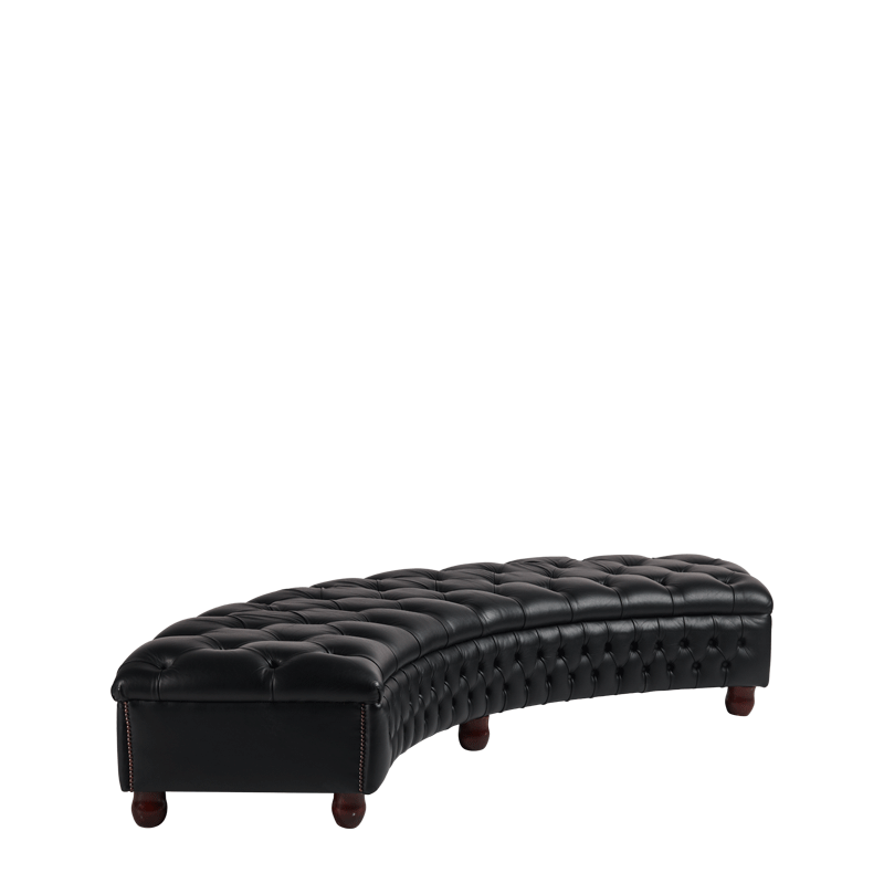 Chesterfield Curved Bench in Black