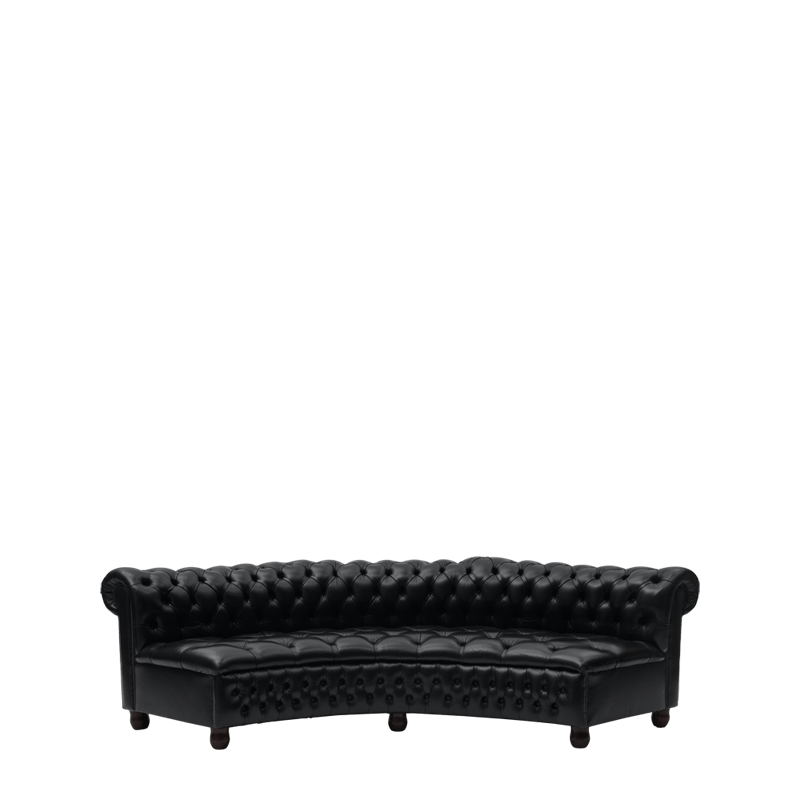 Chesterfield Curved Sofa in Black