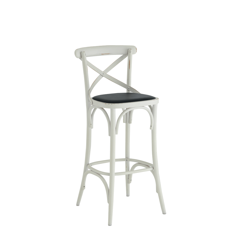 Coco Bar Stool in White with Black Seat Pad